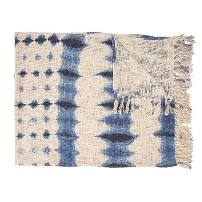 Blue Dyed Cotton Throw - Effortless Composition