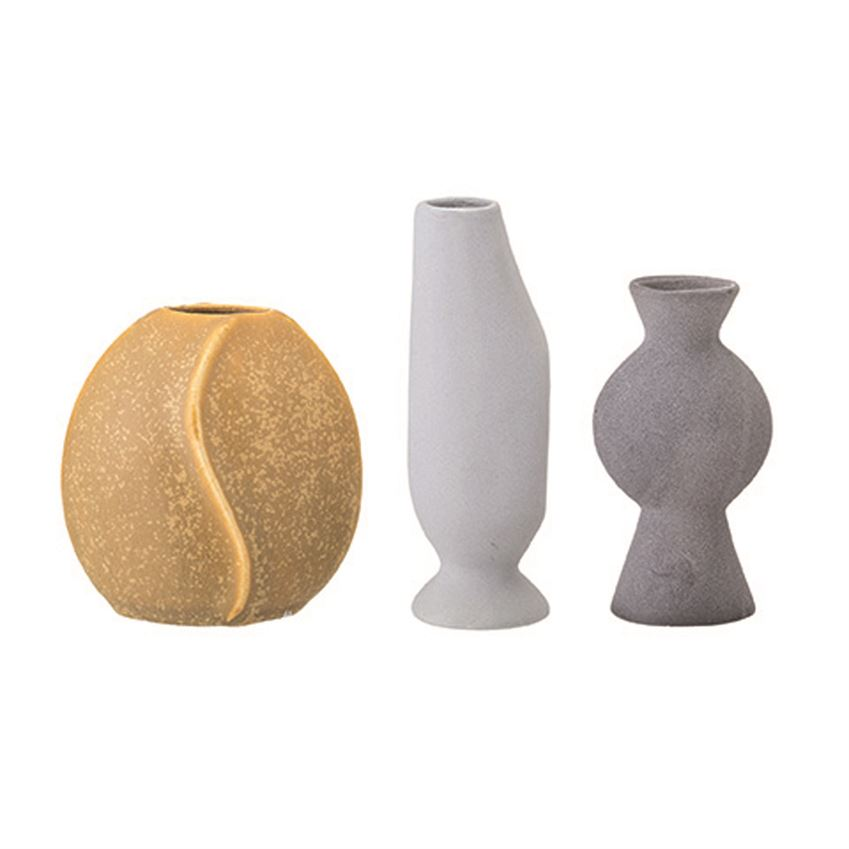 Grey and Yellow Mini Vase (Set of 3) - Effortless Composition