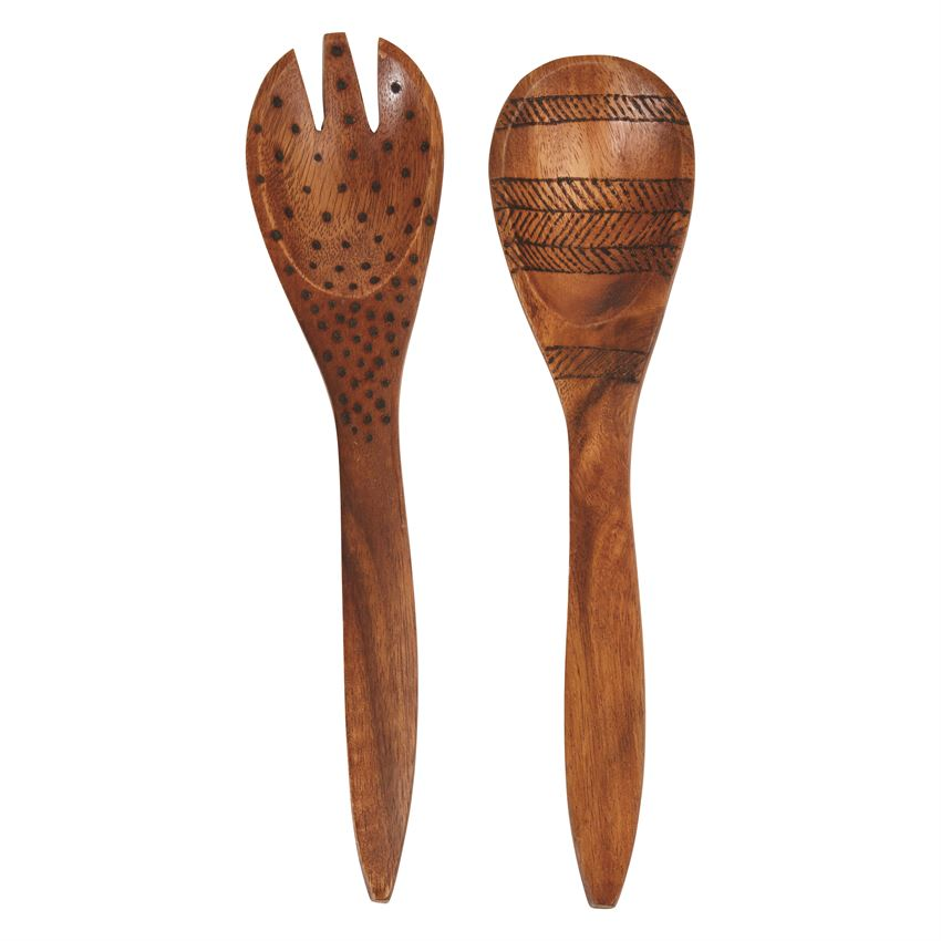 Handmade Acacia Wood Salad Servers  (Set of 2)