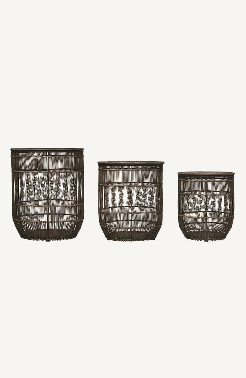 Distressed Black Bamboo & Rattan Baskets w/ Lid