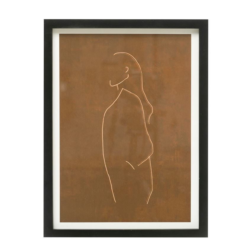 Brown Abstract Wall Decor with Wood Frame