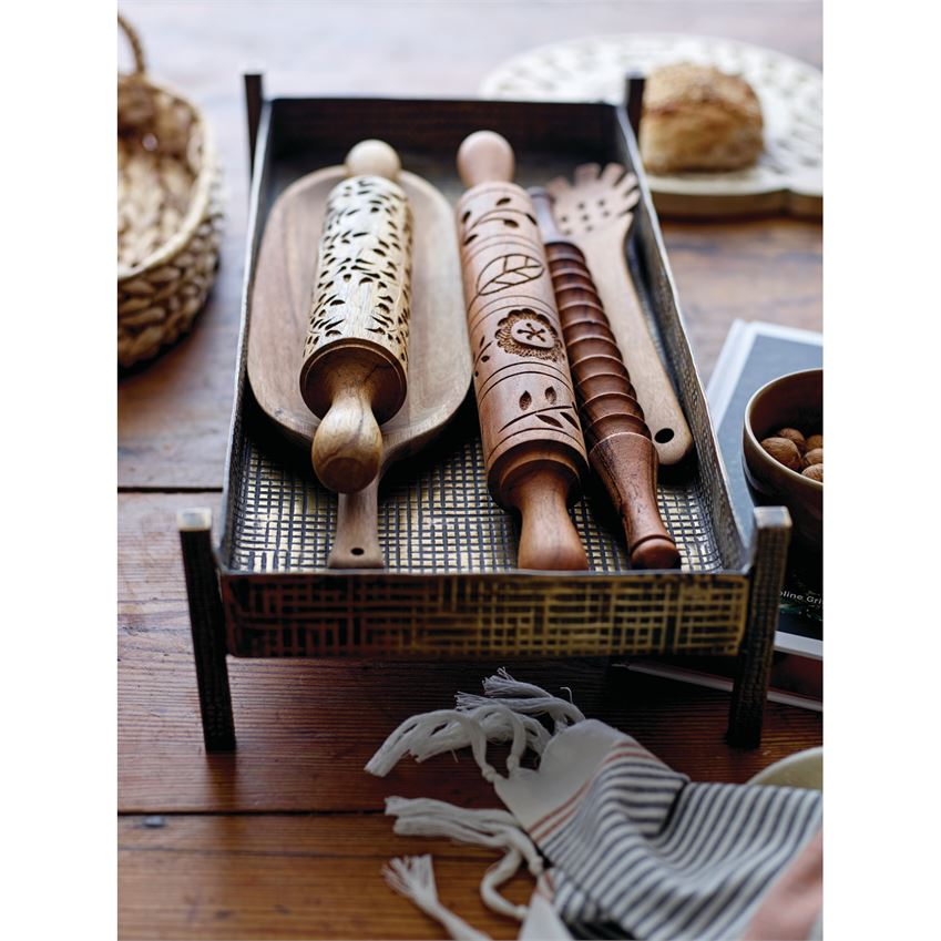Hand-Carved Wood Rolling Pin