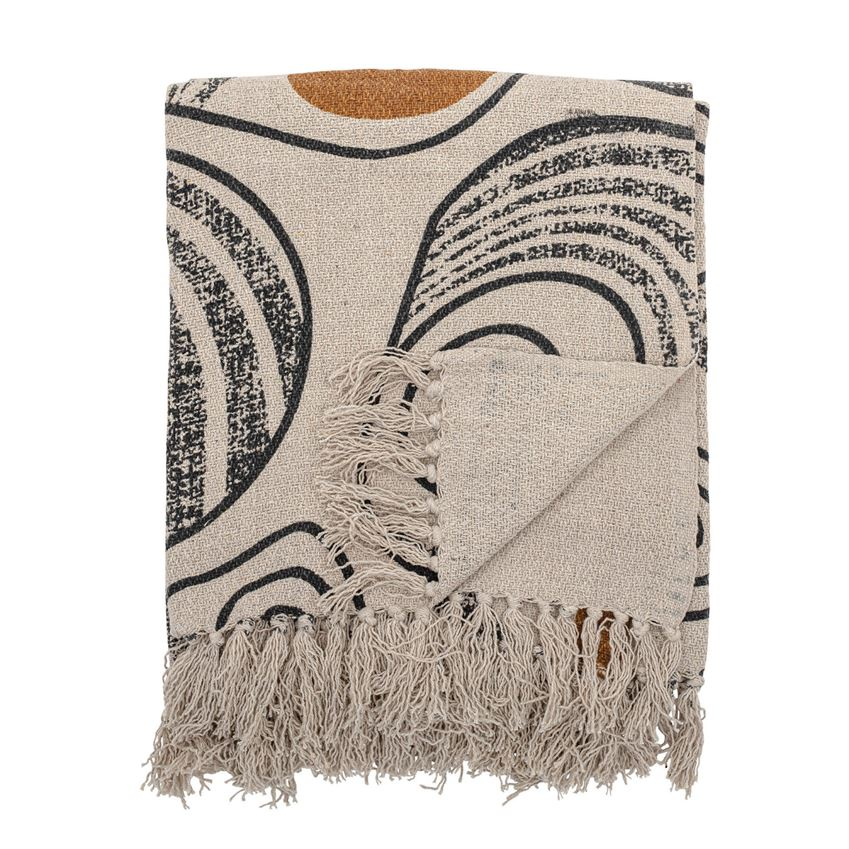 Recycled Cotton Throw w/Abstract Print