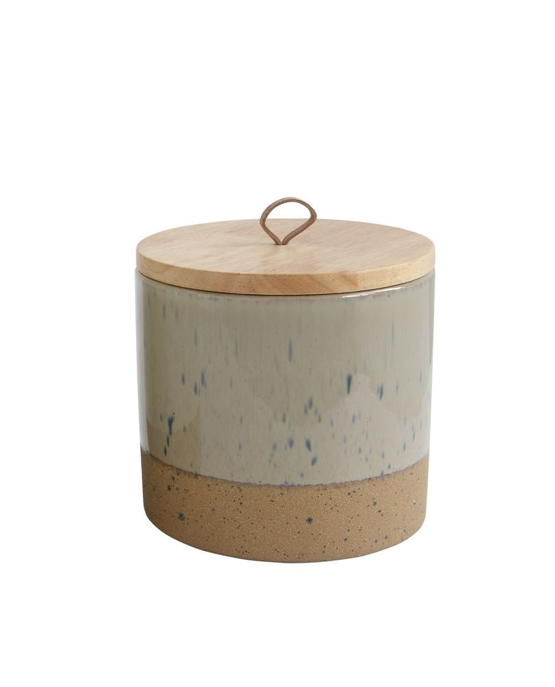 Two Tone Ceramic Canister- Taupe