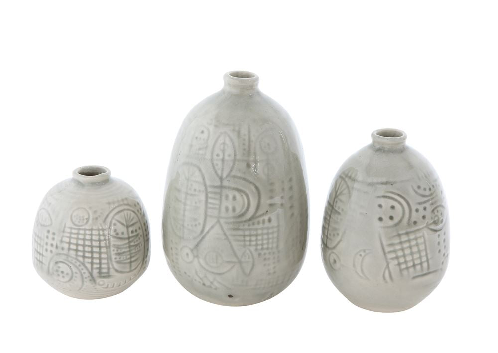 Sage Terra Cotta Vase (Set of 3) - Effortless Composition