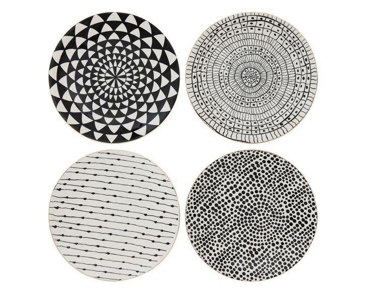Black and White Stoneware Plates