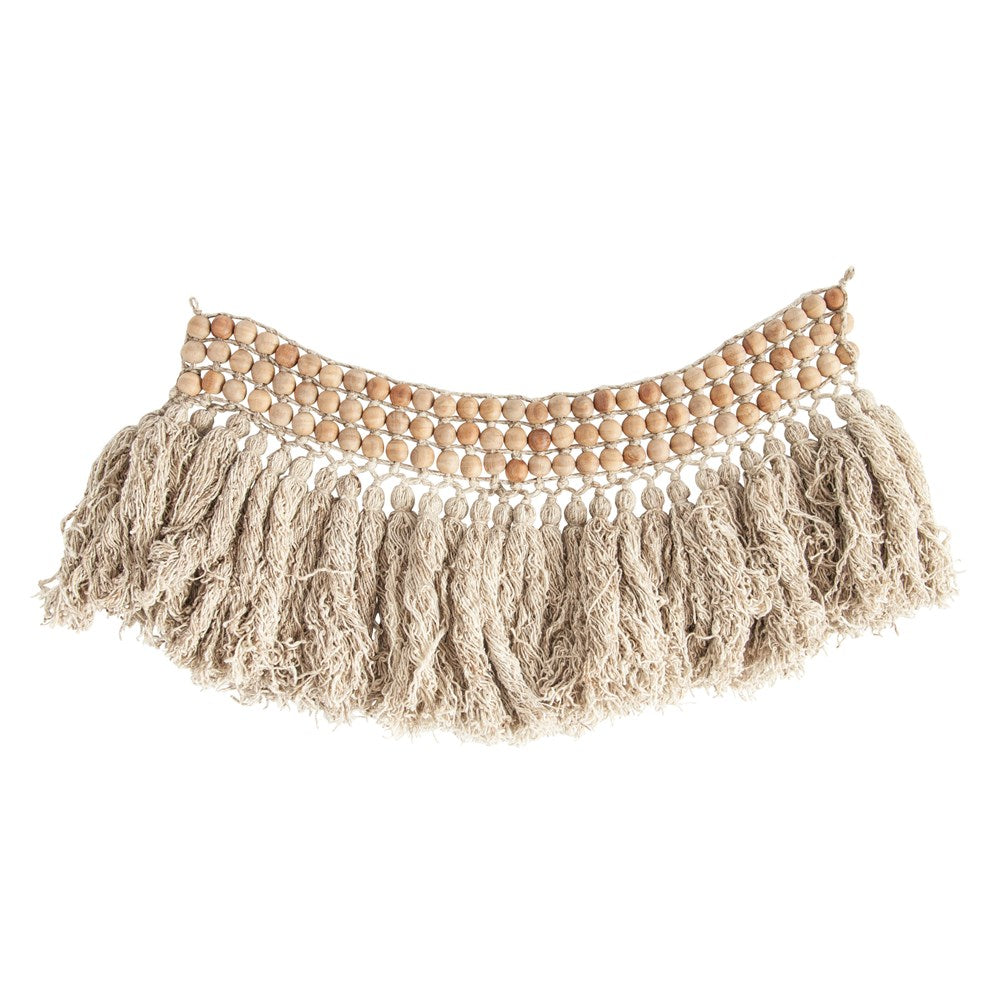Wood Bead & Wool Fringe Wall Decor