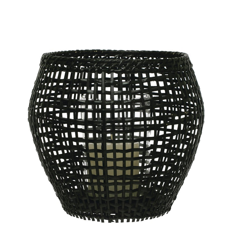 Black Rattan & Bamboo Candle Holder