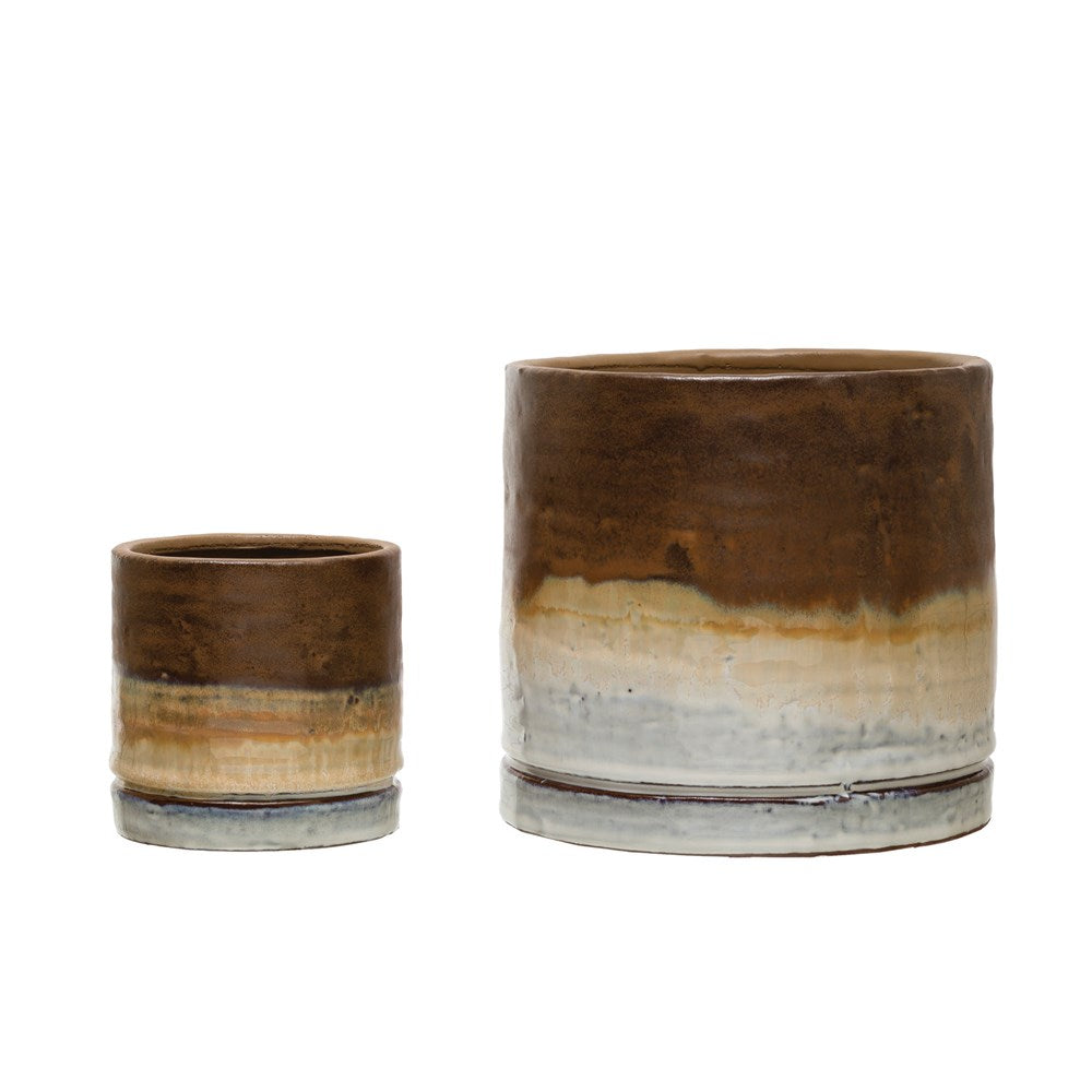 Brown Ombre Stoneware Planter (Medium)
