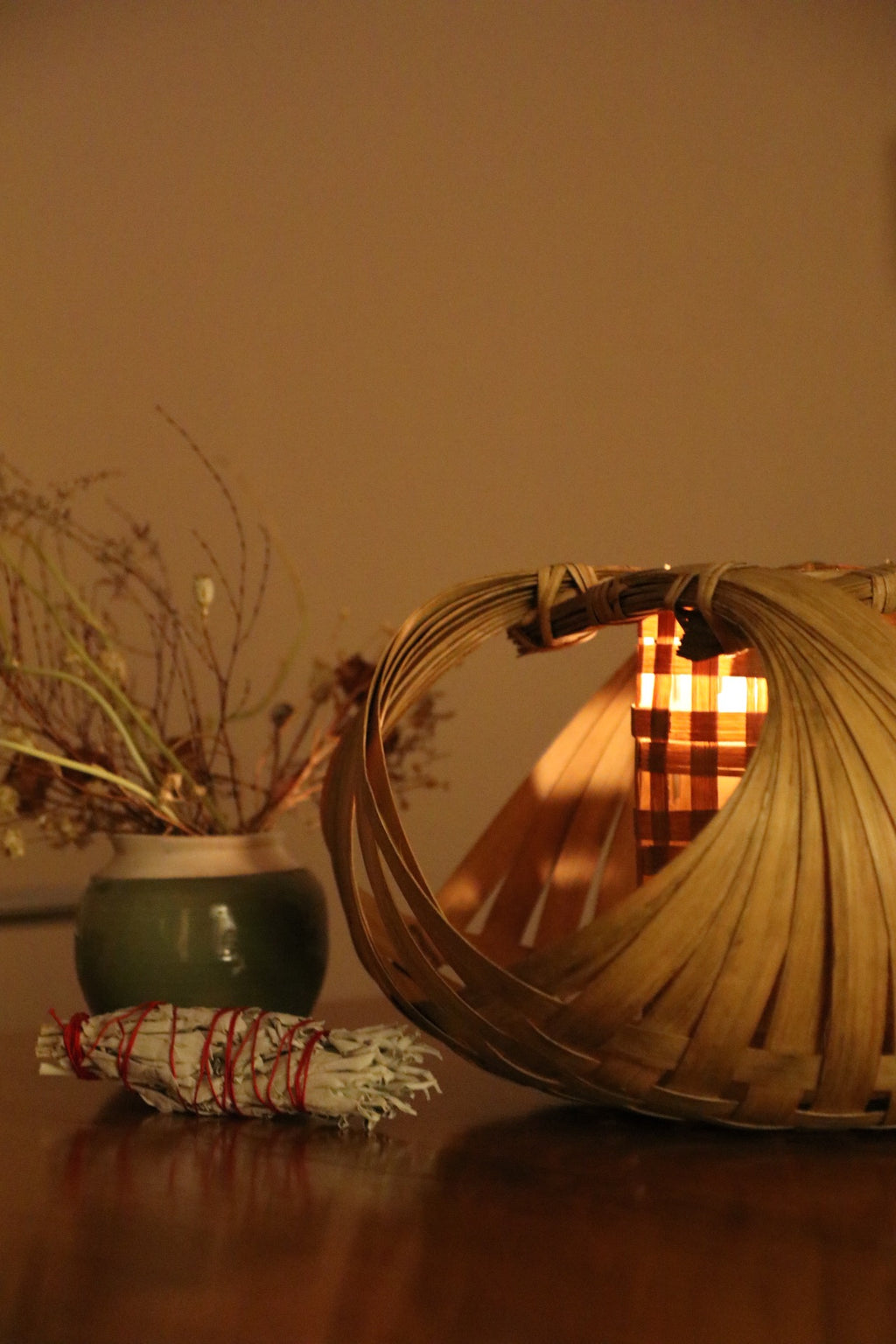 Bamboo Basket Candle Holder - Effortless Composition