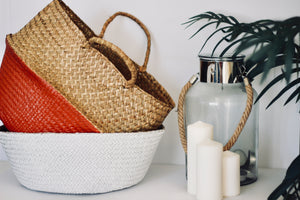 Natural and Red Woven Basket - Effortless Composition