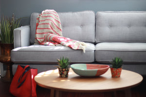 Cotton Throw Blanket- Red and Tan - Effortless Composition