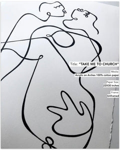 Lilo on Paper art continuous line drawing take me to church original one of a kind proposal artwall hallwall interior