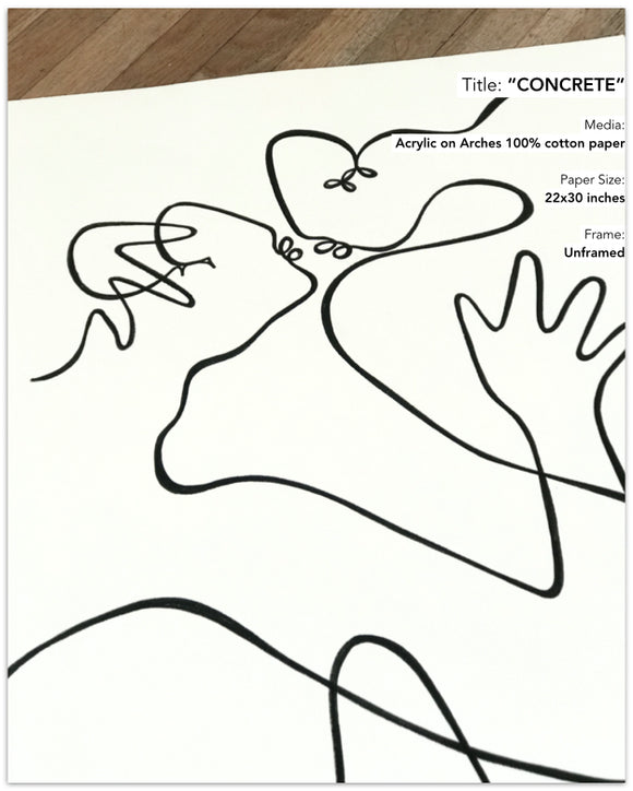 Lilo on Paper art concrete line drawing los angeles copenhagen denmark female lovers