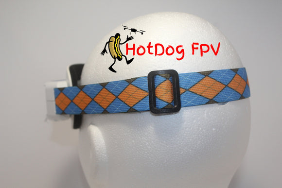 Orange and Blue Argyle Goggle Strap v1 - HotDogFPV