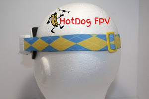 Yellow and Blue Argyle Fatshark Goggle Strap v1 - HotDogFPV