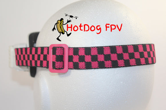 Pink and Black Checkered Fatshark Goggle Strap v1 - HotDogFPV