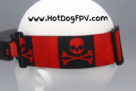 Skull and Crossbones Double Wide Fatshark Goggle Strap v1 - HotDogFPV