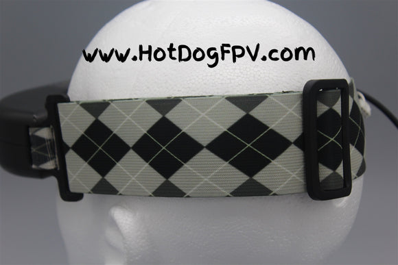 Black and White Argyle Double Wide Goggle Strap v1 - HotDogFPV