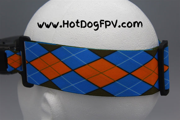 Orange and Blue Argyle Double Wide Goggle Strap v1 - HotDogFPV