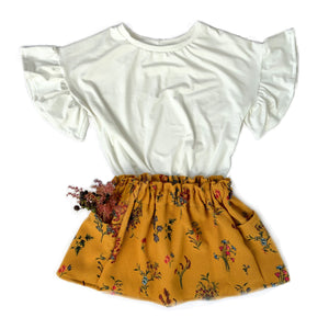 Mustard Floral Paper Bag Waist Pocket Skirt