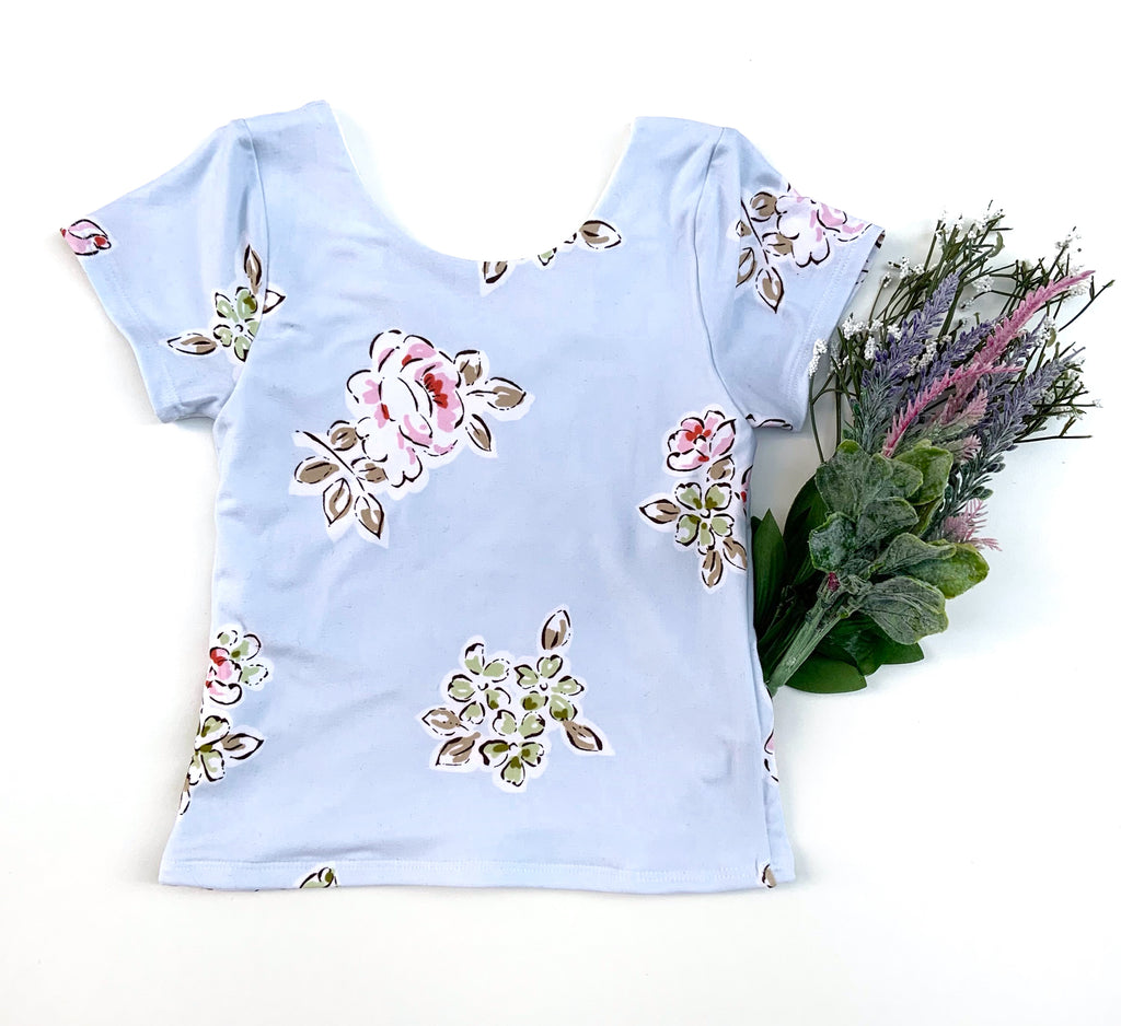 Blue Floral Leo Top - LittlePoshBabes