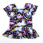 girls handmade peplum top unicorns and rainbows