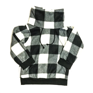 Black and white plaid cowl sweater monochrome