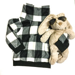 black and white buffalo plaid fleece cowl sweater with a plush bunny in sunglasses