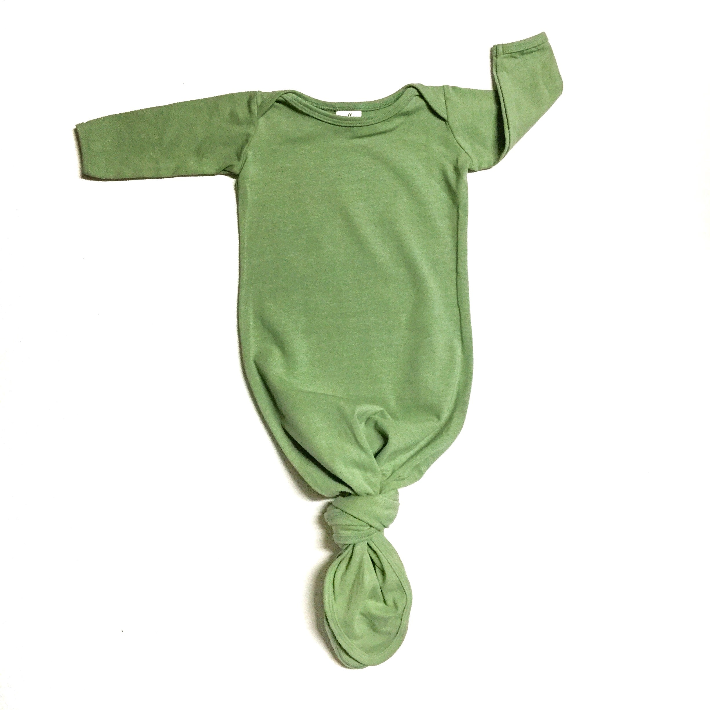 sage green unisex infant knot gown gender neutral baby clothes