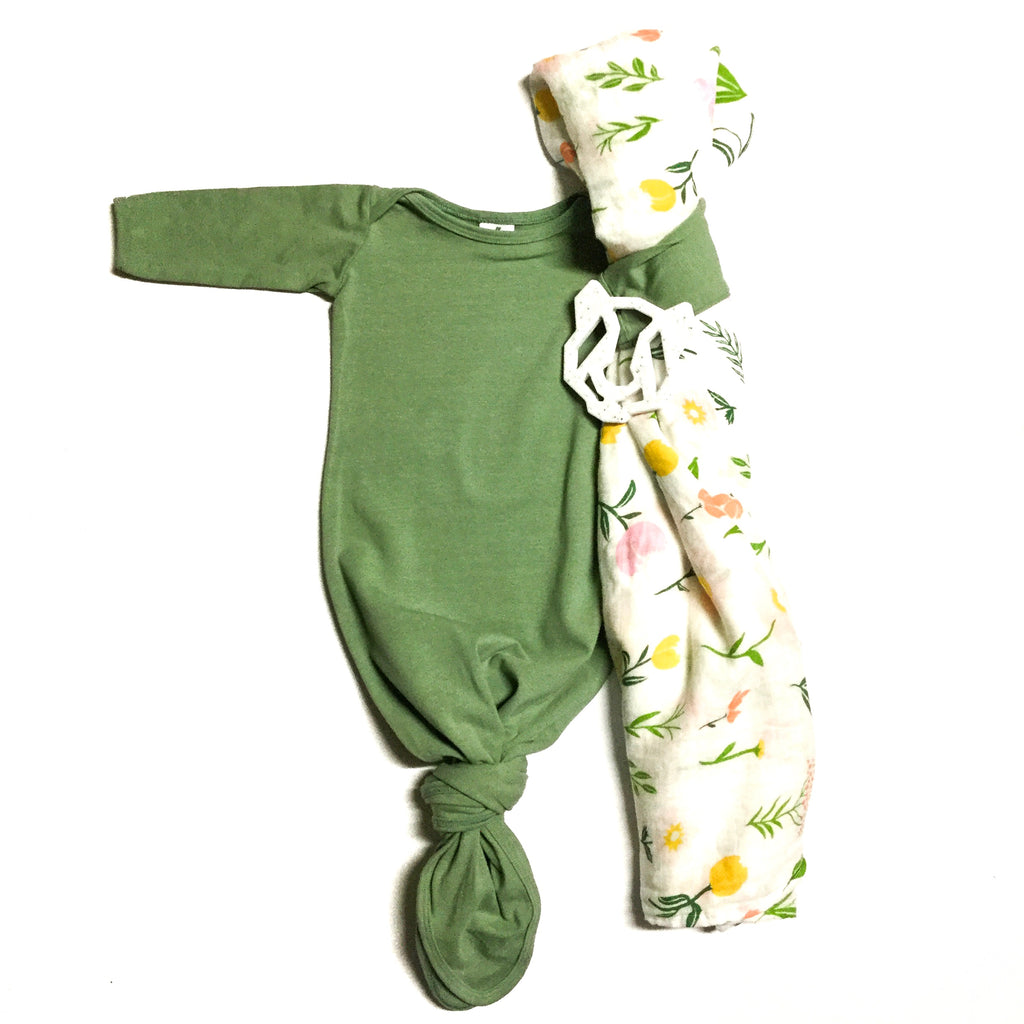 Sage knot gown with floral swaddle and panda teether