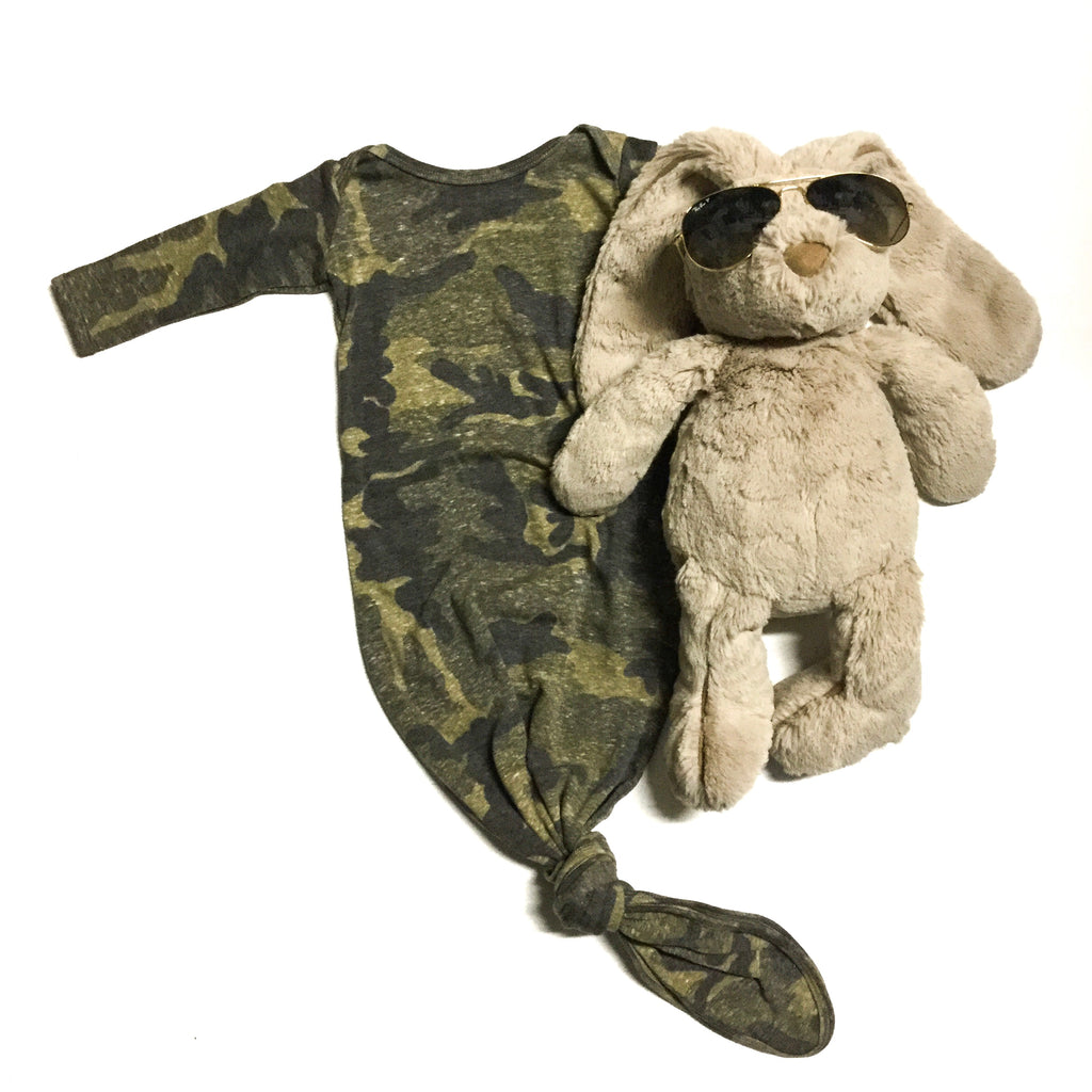 camo knot gown with plush bunny wearing sunglasses little posh babes