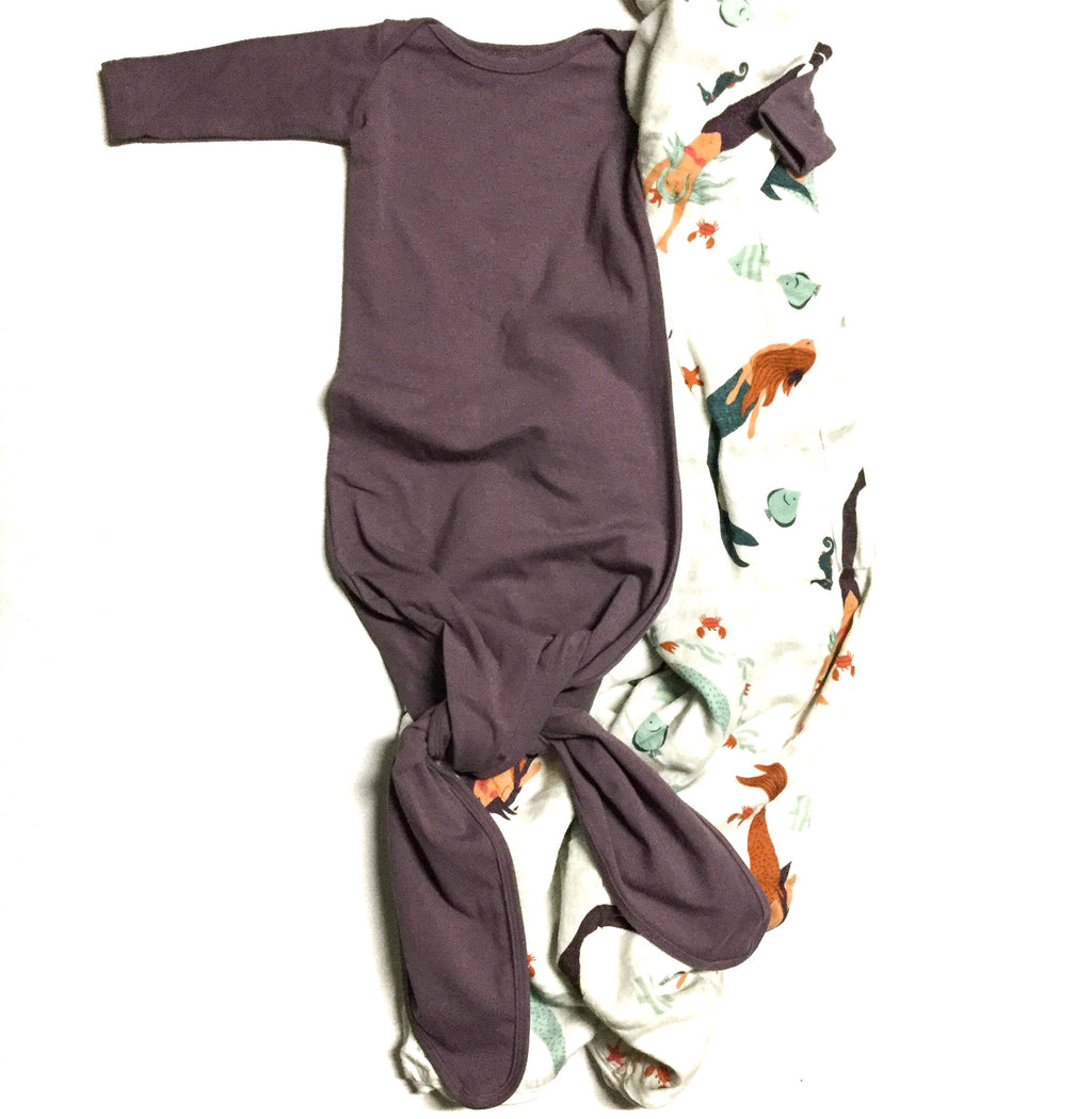 handmade plum infant gown newborn swaddle sack