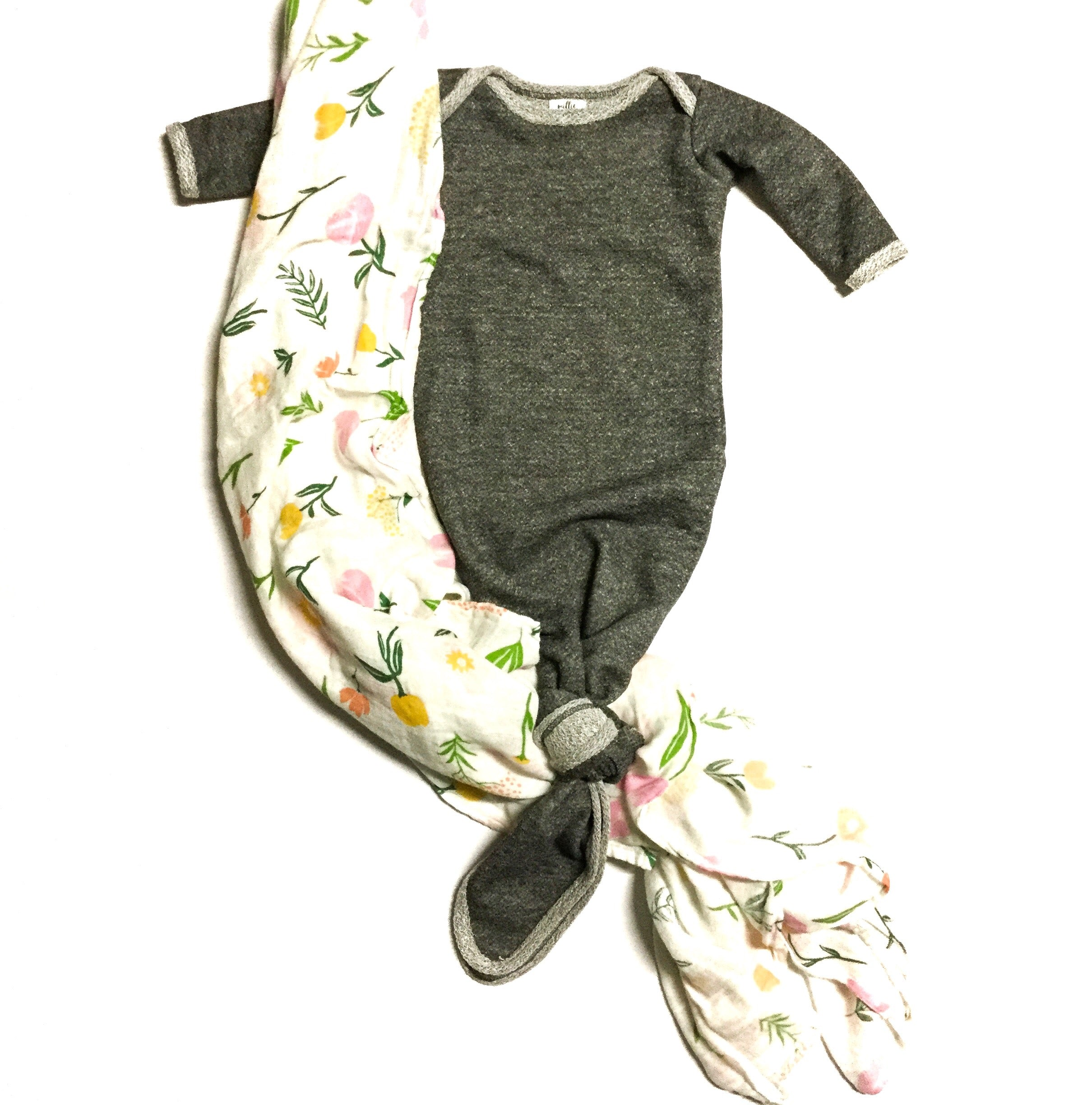 french terry comfy knot infant gown for new babies by little posh babes