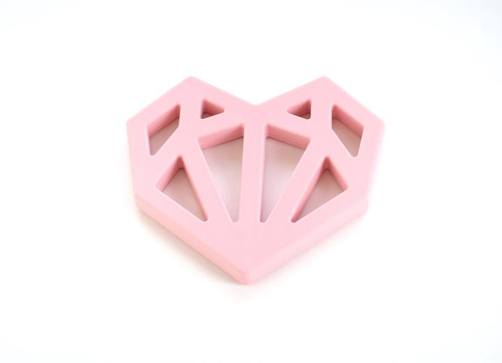 baby girl heart shape teething ring pink teether minimalist baby toys and gifts