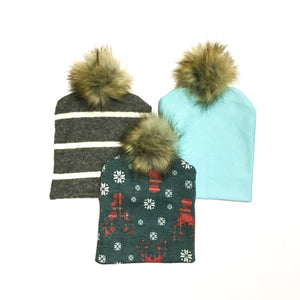 boys beanie with pom pom fur top hats for toddlers and kids