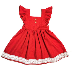 handmade vintage style dress with buttons and lace for little girls