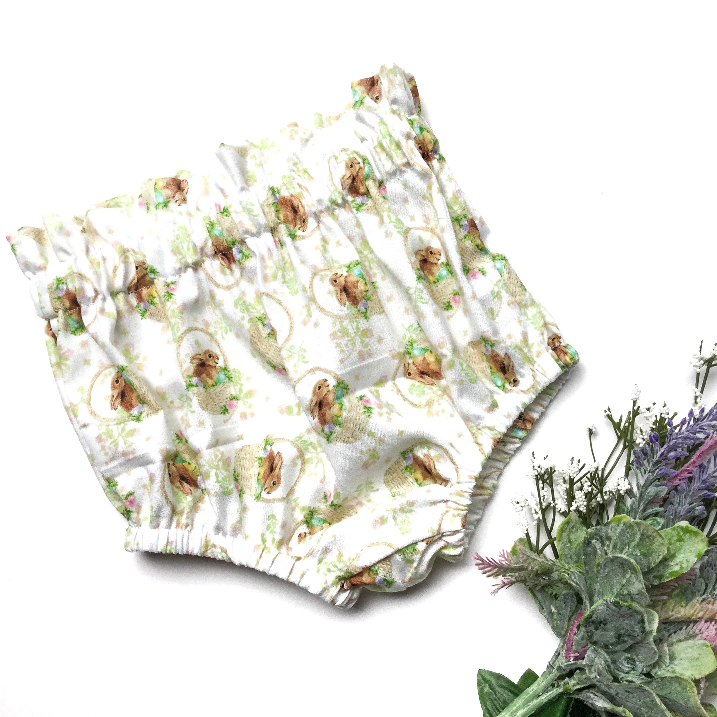 White Floral Bunny High Waisted Bloomers