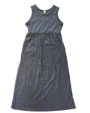 flat lay of gray blue toddler maxi dress for toddlers little posh babes