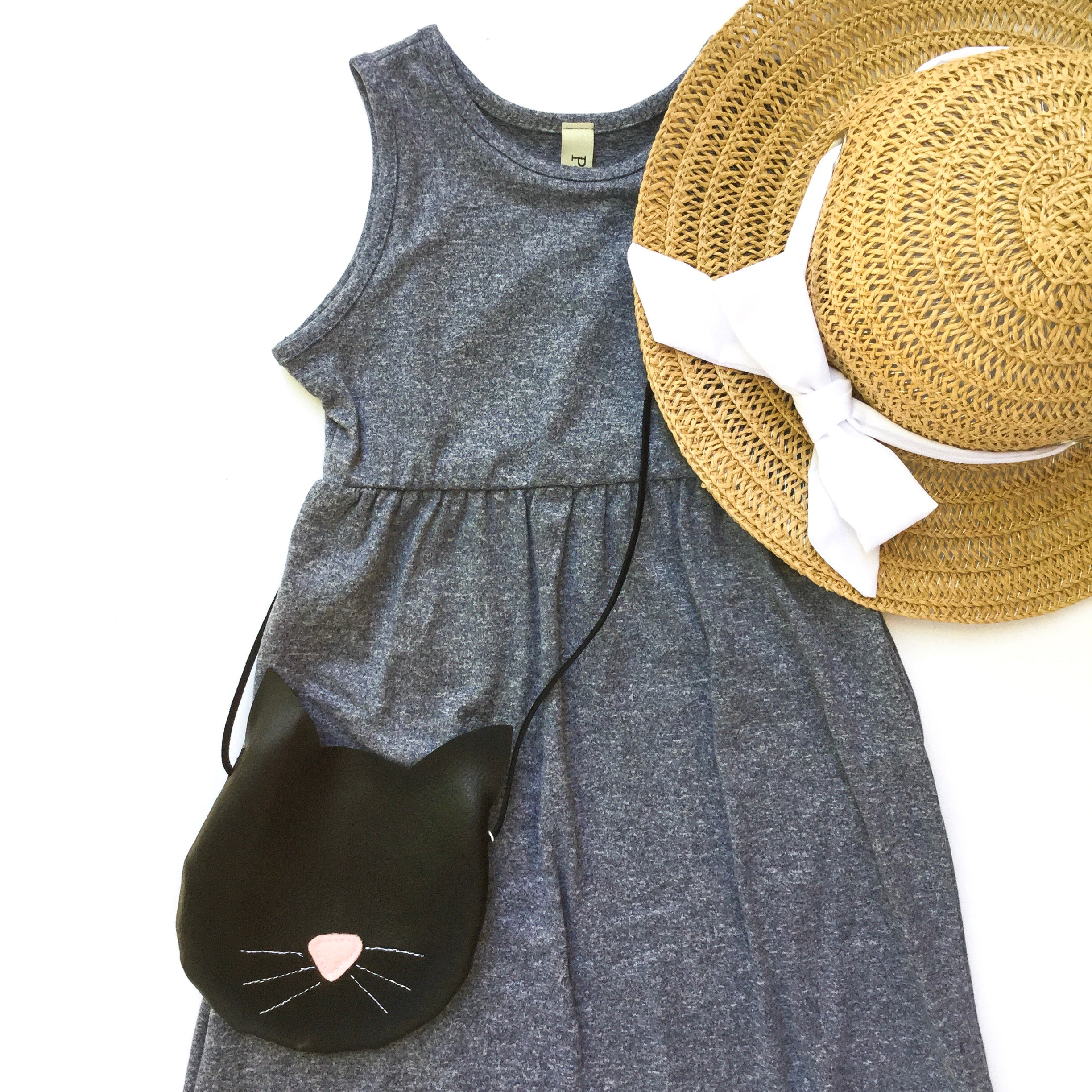 flat lay of gray blue toddler maxi dress and sunhat for toddlers little posh babes