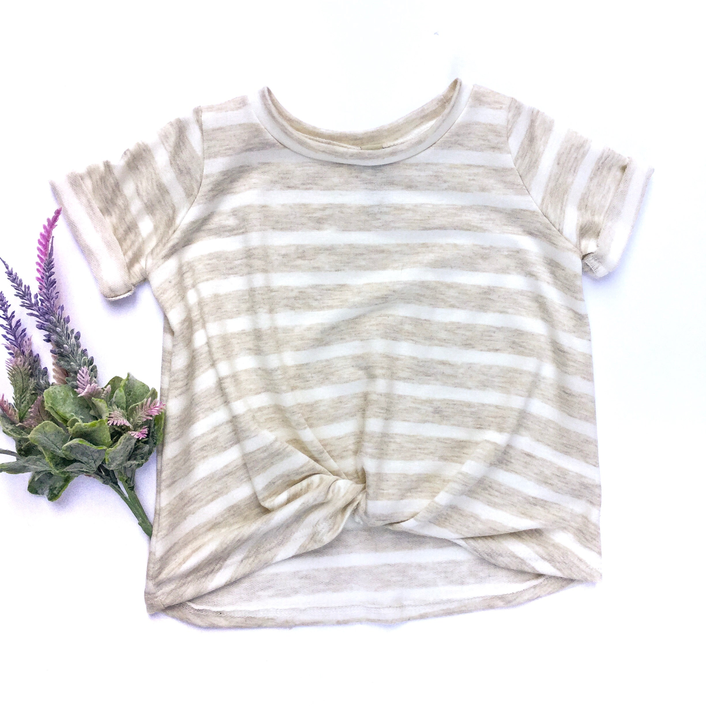 oatmeal stripe tee twist front toddler casual clothes