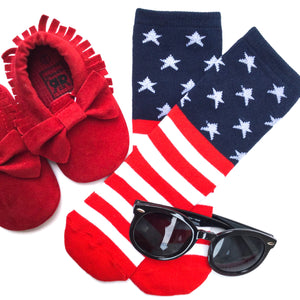 all american patriotic flat lay for kids knee highs with flags