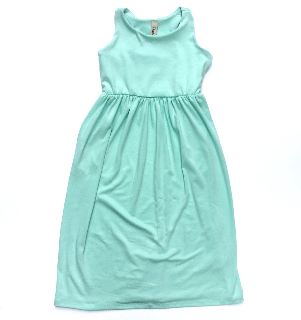 Toddler sleeveless mint maxi dress