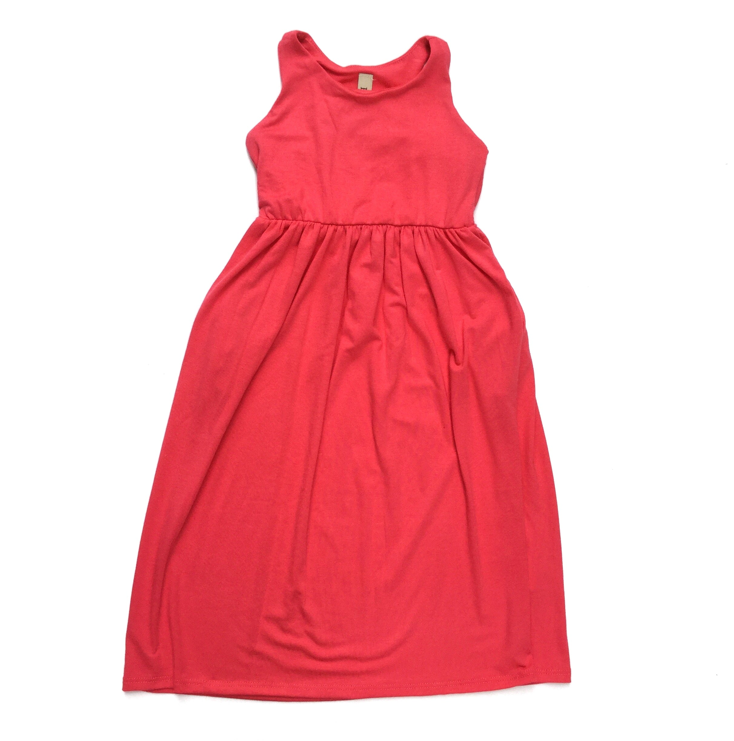 Toddler dark coral sleeveless maxi dress