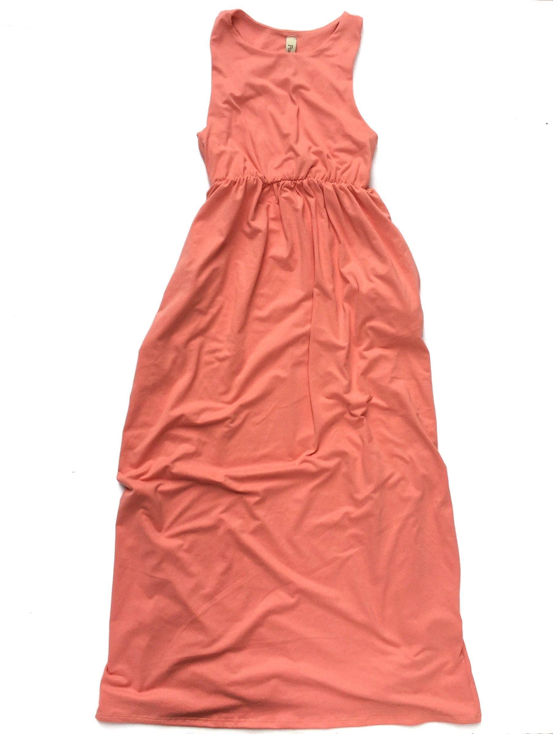 Childrens sleeveless coral maxi dress light color pastel dresses for kids