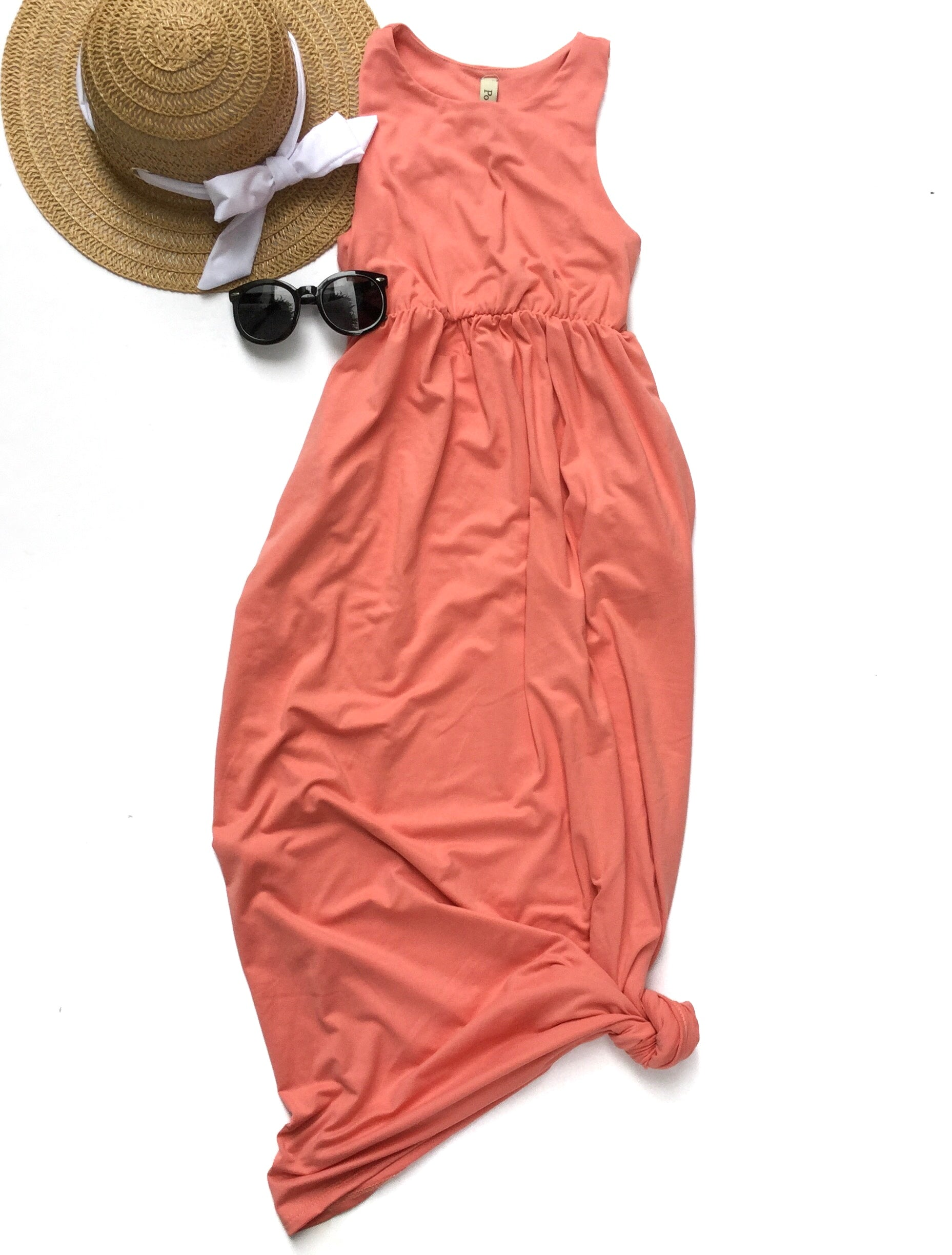 light coral maxi dress with sun hat