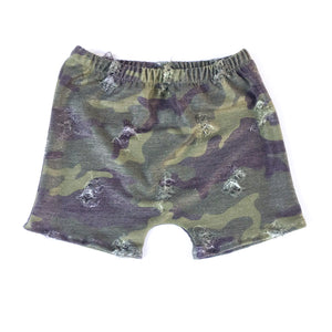 Distressed Camo Boy Shorts