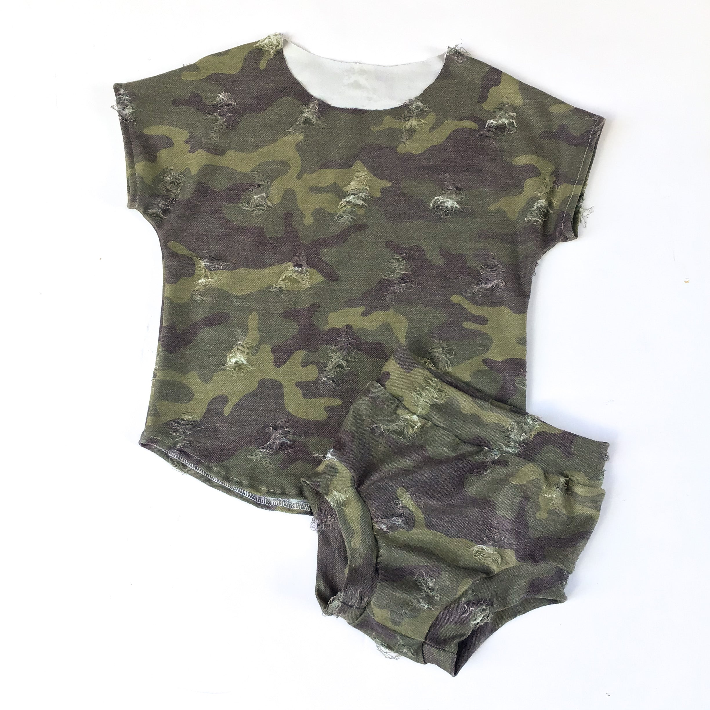 Distressed Camo Bummies - Shorts