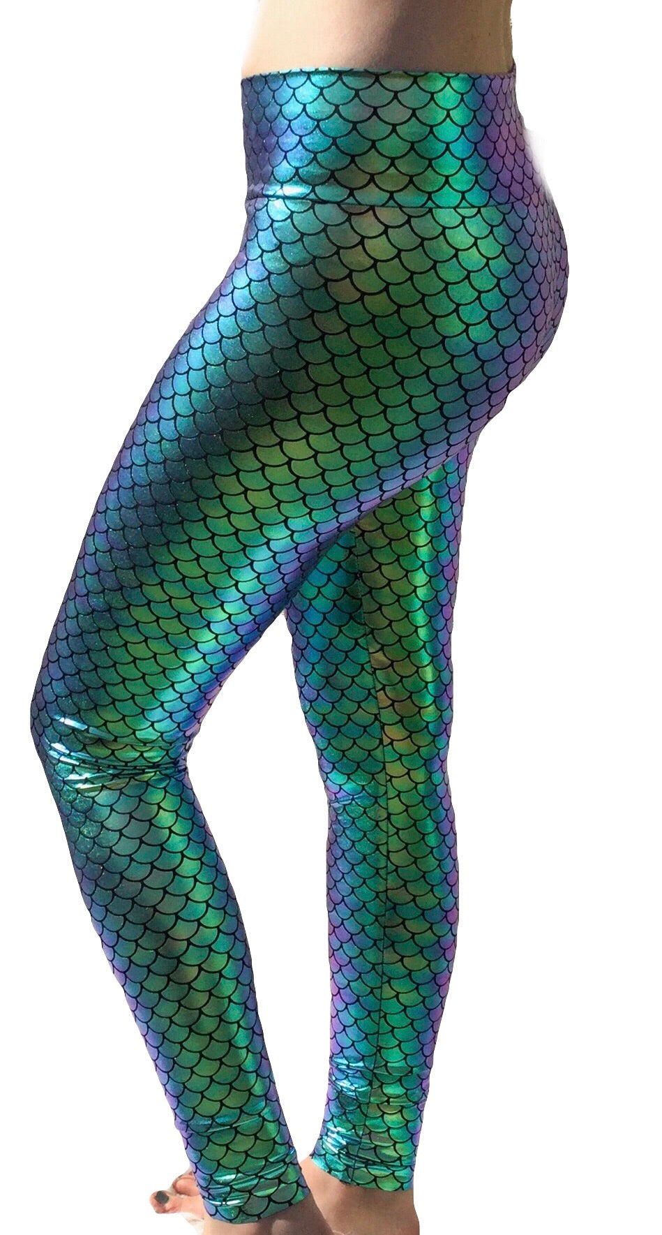 yoga band high waist womens mermaid leggings