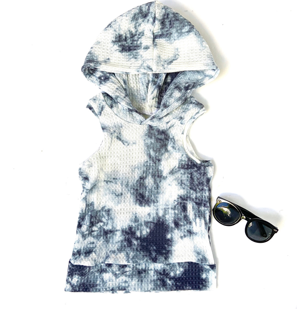 Blue Tie Dye Hooded Tank RTS 3-4t - LittlePoshBabes